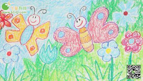 飞童亿佳儿童绘画公开课:蝴蝶 动物系列蜡笔画