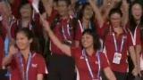 视频:新加坡代表队入场 狮城微笑展兰花芬芳