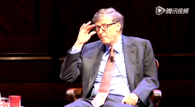 比尔-盖茨在哈佛大学接受访谈截图