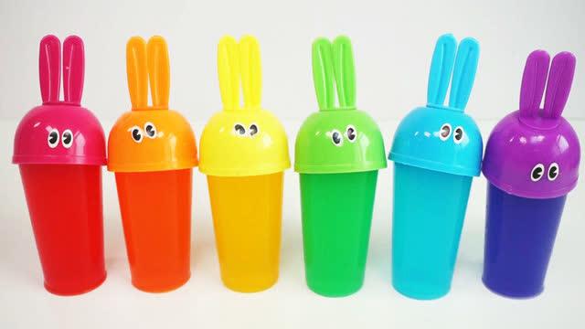 小兔子diy果冻布丁与宝宝泡泡糖彩泥粘土学习颜色