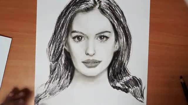 素描手绘 安妮 海瑟薇