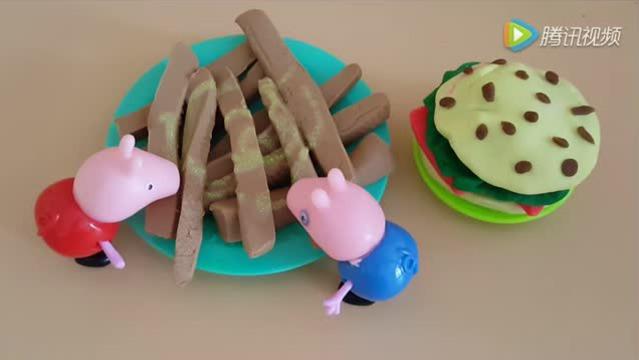 粉红猪小妹厨房彩泥套装 小猪佩奇制作汉堡薯条图片