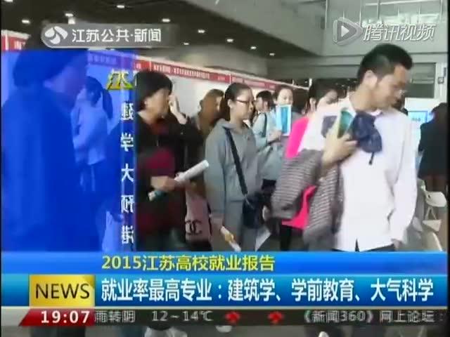2015江苏高校就业报告:就业率最高专业——建筑学、学前教育、大气科学截图