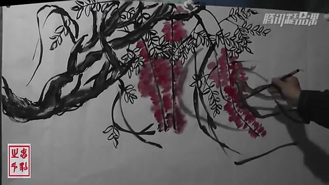 中国画彩墨画:写意紫藤