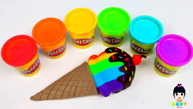 橡皮泥彩虹冰淇淋蛋卷 自制儿童益智玩具