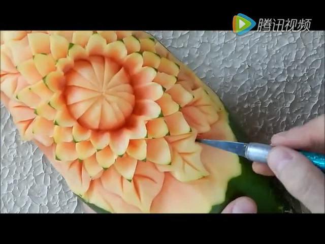 木瓜雕刻 成品出来让人舍不得吃