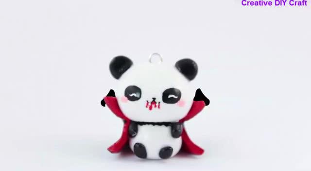 创意手工diy,亲子卡哇伊,橡皮泥制作萌翻人的熊猫大侠