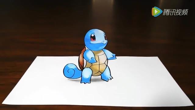 手工创意手绘小精灵杰尼龟 请收下我的膝盖