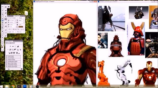 ps手绘动漫版钢铁侠原型竟然是日本武士!