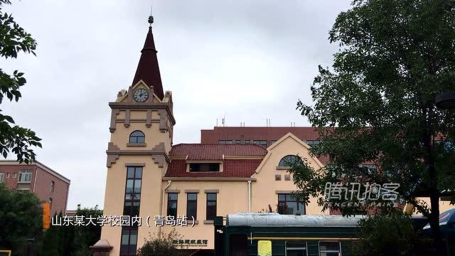 【拍客】航拍山东一高校重金打造山寨版青岛火车站