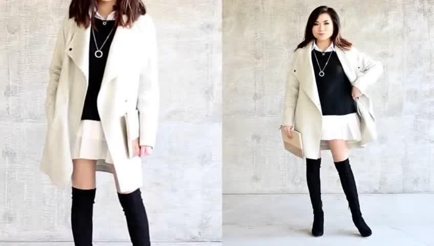 最新时尚冬装时尚搭配-小个子女生穿衣搭配街拍秀
