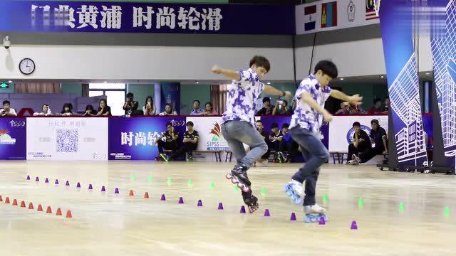 上海国际自由式轮滑公开赛 双人花桩