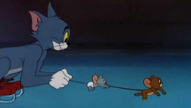 猫和老鼠,汤姆杰瑞冰上开心玩耍,小不点大战汤姆图片