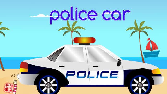 卡通警车背景图