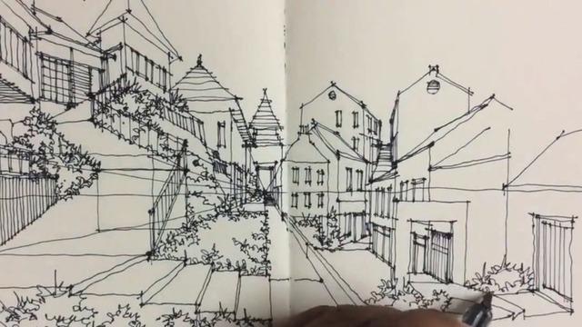 东方月初手绘笔画