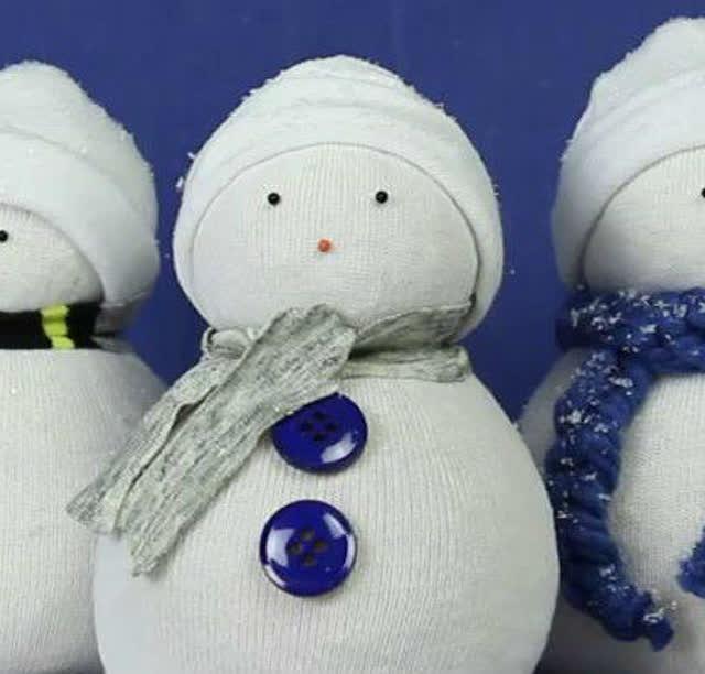 袜子简单制作圣诞礼物小雪人