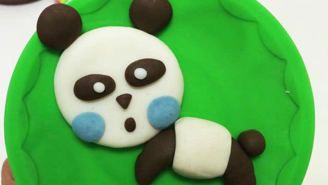 玩具视频橡皮泥手工制作甜心熊猫 亲子游戏