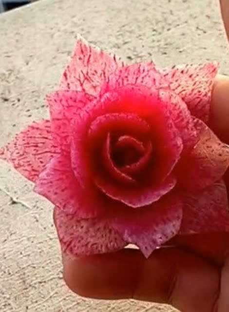 神人厨师红萝卜雕刻月季花 美呆了