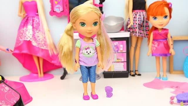 精灵梦叶罗丽娃娃玩具试玩 帮夜萝莉仙子叶萝莉换装换发型 芭比娃娃