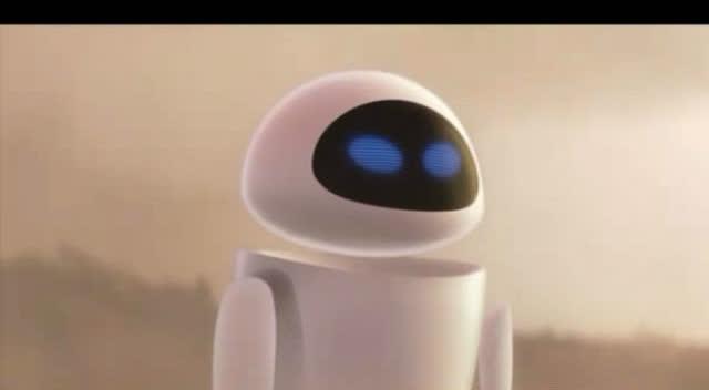 机器人总动员伊娃惊喜降临,和瓦力初次见面互相介绍呆萌极了