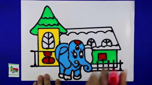 亲子游戏 大象胶画 爱乐家园 智力游戏 小猪佩奇 小房子胶画