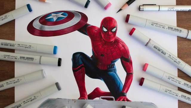 超吊3d手绘视觉效果《超凡蜘蛛侠…拿着美国队长的盾牌》