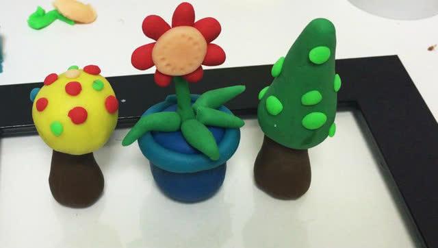 玩具视频 橡皮泥手工制作小小花园 亲子游戏