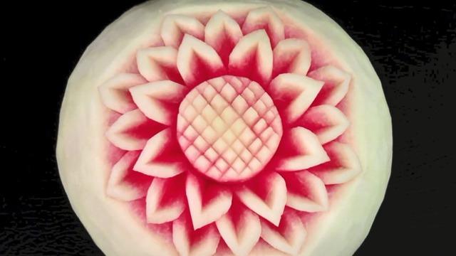 简单的西瓜雕花艺术,想学的快来收藏!
