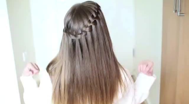 瀑布编发教程,超显气质的发型 - 腾讯视频
