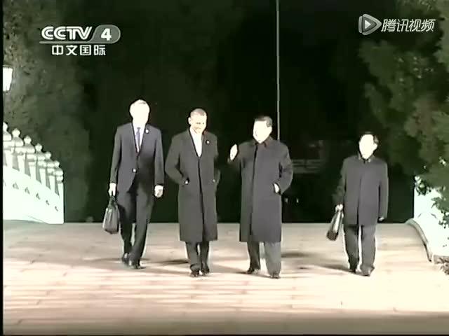 直击习近平与奥巴马在中南海散步并会晤截图