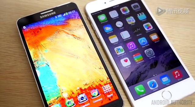 iPhone 6 Plus对比三星Note 3截图