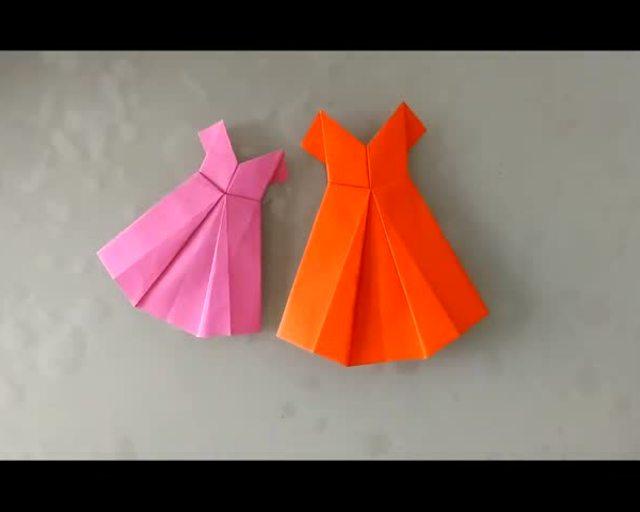 手工折纸大全之晚礼服裙折法教程 为孩子收藏!