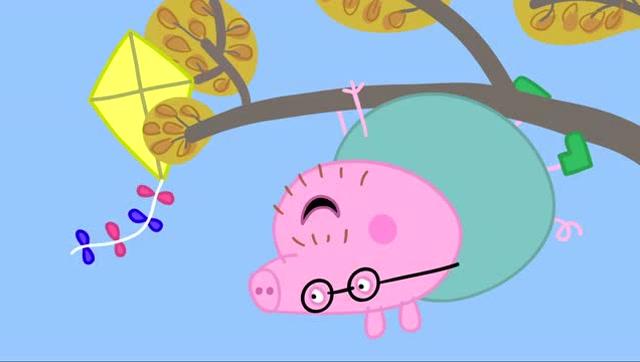 小猪佩奇:猪爸爸上树取风筝 不料掉在泥坑里了 哈哈 满身泥