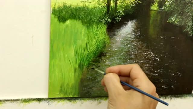 写实油画风景 水边近景草丛 绘画过程