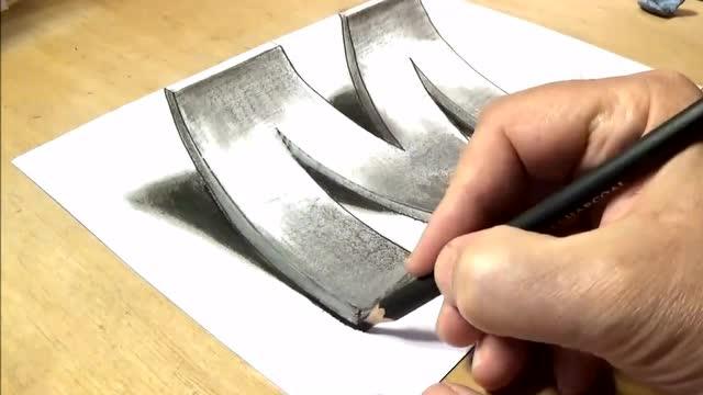 零基础3d立体画入门 用一支铅笔,画个3d立体字母m 第二集图片