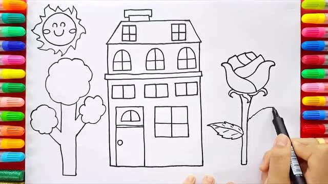 宝宝学画画之教你如何快速画房子和门前的花 少儿简笔