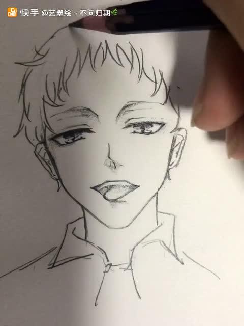 手绘大师的简笔画 教你如何画帅气的发型