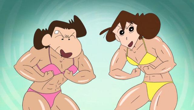 隔壁大婶邀请美伢一起健美,肌肉美伢小新要惨了图片