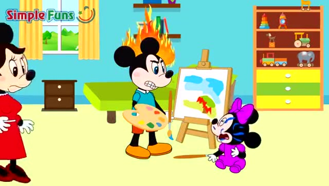 动画米老鼠:米奇在画画妹妹来捣乱,结果米奇把颜料涂妹妹脸上了图片