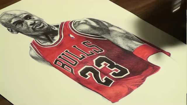 彩铅手绘篮球之神迈克尔乔丹,这确定不是照片?
