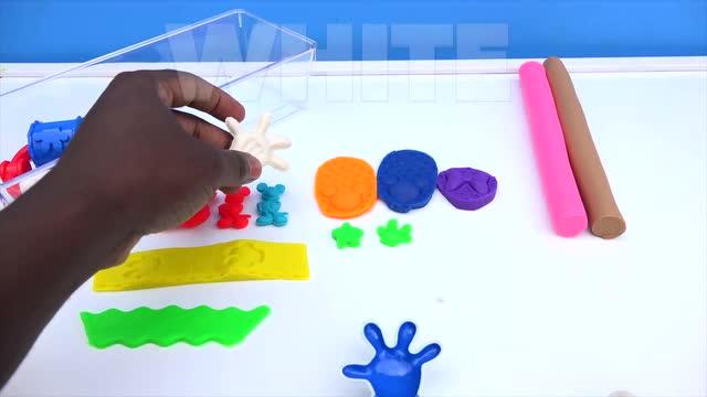 彩泥diy:制作彩色米老鼠手掌与脚印