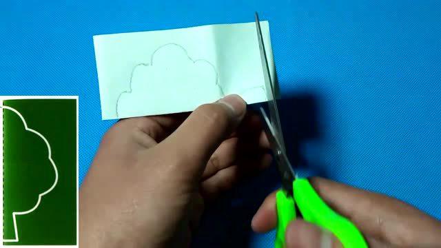 儿童手工diy剪纸教程:剪纸小树2