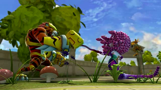 猪猪侠:菲菲打中铁拳虎耳朵 做了铁拳虎的眼睛 打败九头蛇