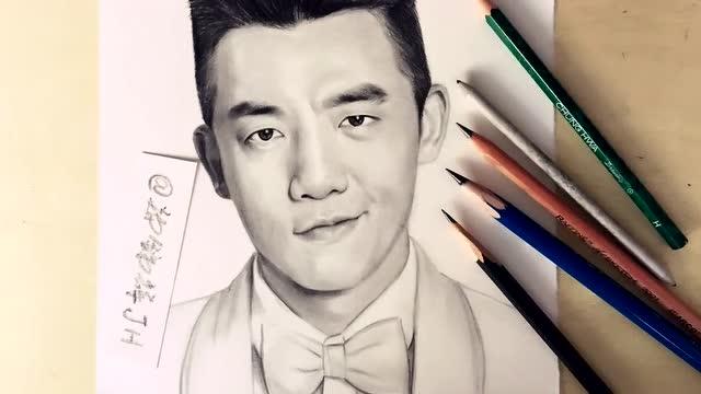 铅笔素描手绘明星:郑凯
