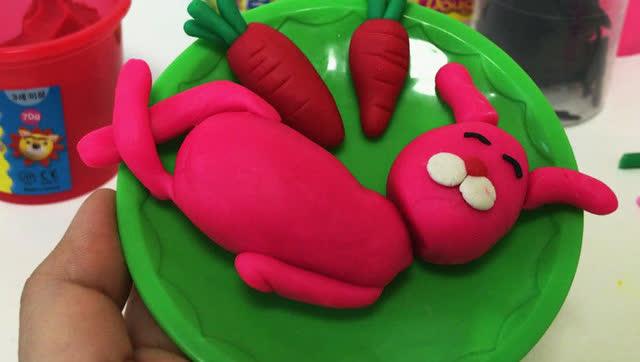 橡皮泥手工制作 萌兔子吃胡萝卜 亲子游戏