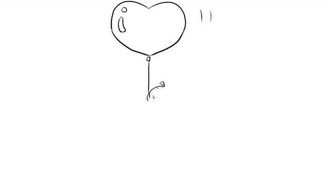 抱着心形气球的小女孩儿童亲子简笔画 宝宝轻松学画画