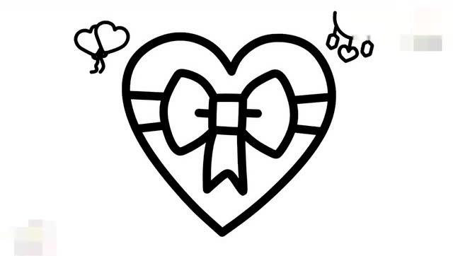 早教育儿简笔画,跟宝宝一起画一个爱心蝴蝶结