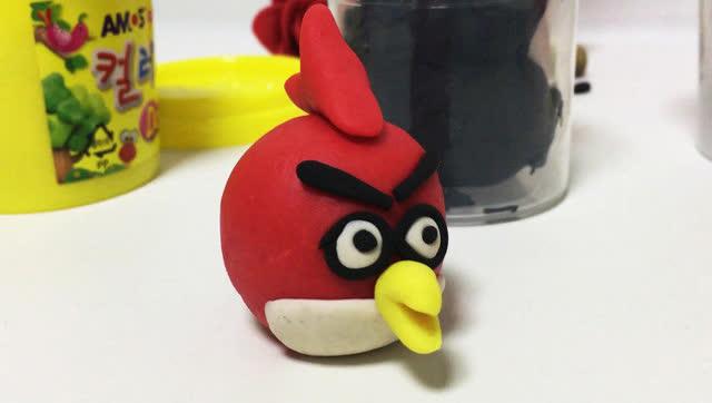 玩具视频 橡皮泥手工制作愤怒的小鸟 亲子游戏