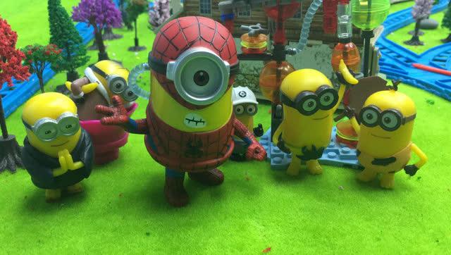 小黄人爱护环境全体集合 回收彩泥变蜘蛛侠小黄人