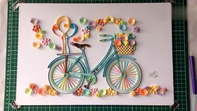 绝美衍纸画 不费一滴水墨 阳春三月风景如画 骑上自行车去踏青
